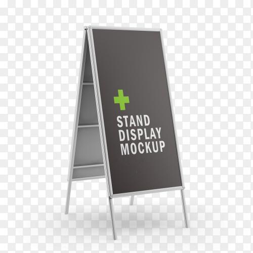 Stand display mockup on transparent PNG