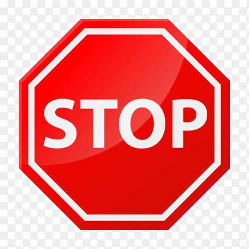 Stop sign icon notifications on transparent background PNG