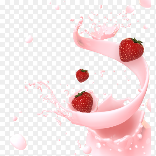 Strawberry Wave Milk Clipart PNG