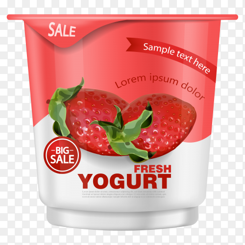 Strawberry yogurt realistic mockup Premium Vector PNG