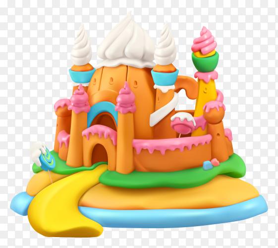 Sweet castle cartoon illustration Premium vector PNG