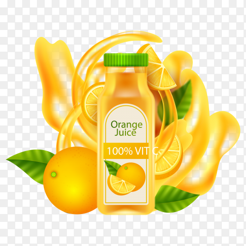 Sweet orange juice on transparent background PNG