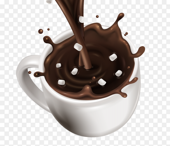 Hot chocolate being poured into cup Premium vector PNG