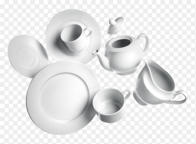 Tea cups and dishes on transparent PNG