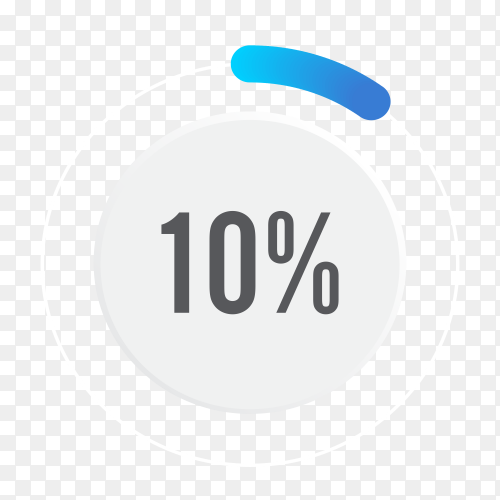 Ten percent blue grey and white pie chart on transparent background PNG