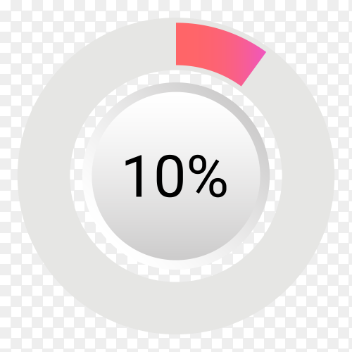 Ten percent isolated pie chart on transparent background PNG