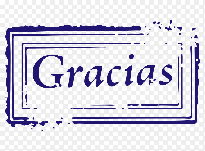 Thank you in spanish Stamp vector PNG