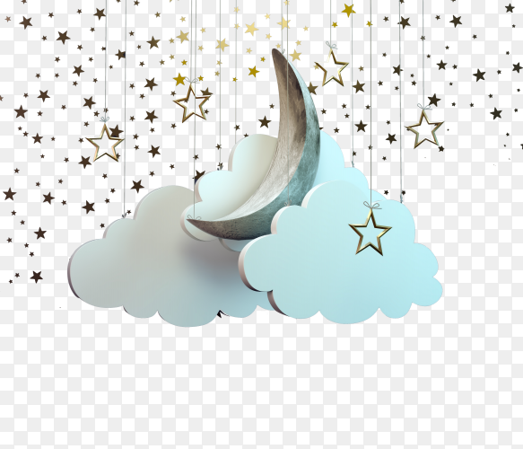 The crescent of Ramadan among the clouds with the stars drop down on transparent background PNG