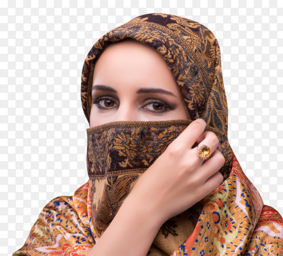 The young woman in traditional muslim clothing Clipart PNG