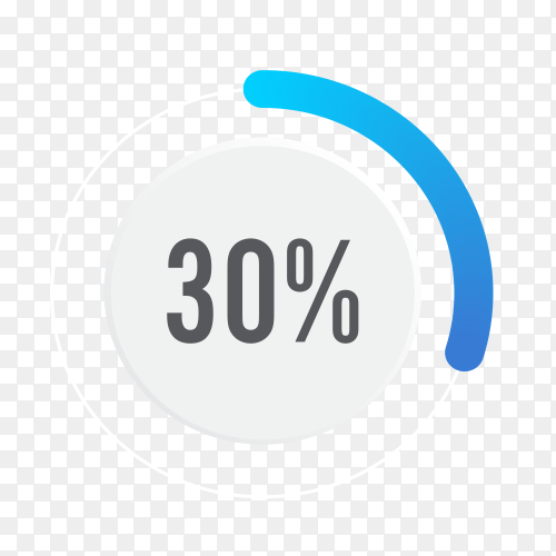 Thirty percent blue grey and white pie chart on transparent background PNG