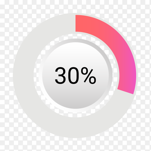 Thirty percent isolated pie chart on transparent background PNG