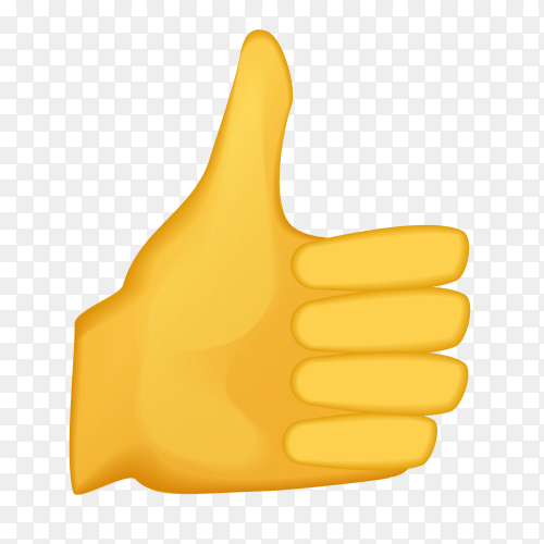 Thumbs up gesture emoji on transparent PNG