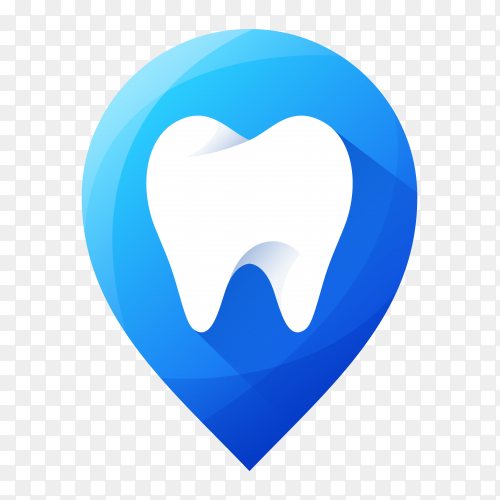 Tooth icon with shadow on transparent background PNG