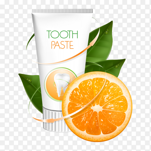 Tooth paste orange arrows on transparent PNG