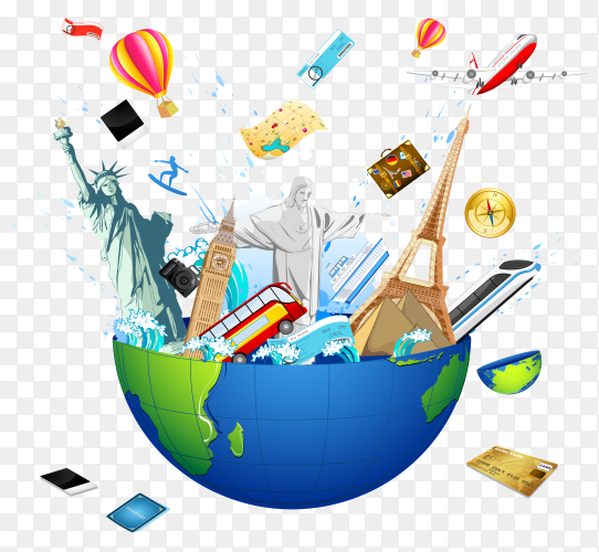 Travel the world monuments concept on transparent background PNG