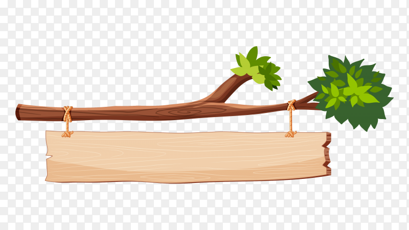 Tree branch with wooden sign on transparent background PNG