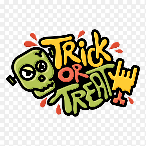 Trick or treat cartoon design on transparent background PNG