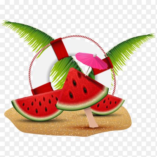Tropical garden with watermelon Premium Vector PNG