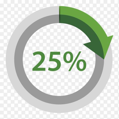 Twenty five Percentage downgrade on transparent background PNG