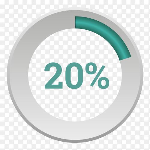 Twenty percent blue  gradient pie chart sign on transparent background PNG