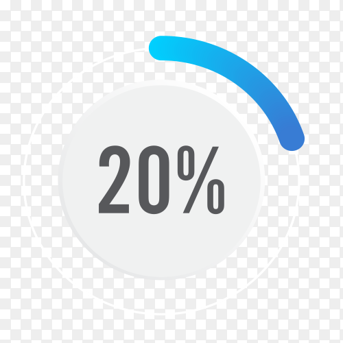 Twenty percent blue grey and white pie chart on transparent background PNG