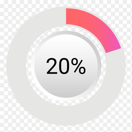 Twenty percent isolated pie chart on transparent background PNG