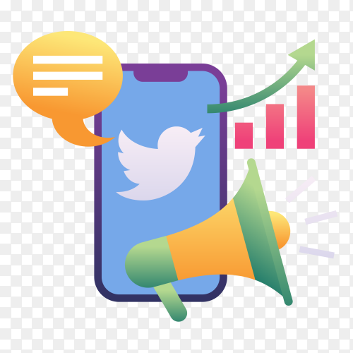Twitter Marketing on transparent PNG