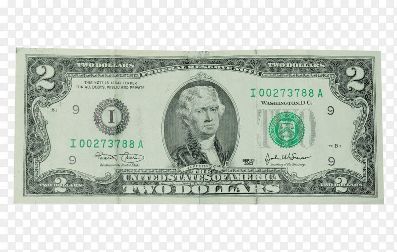 Two dollars bill isolated on transparent background png