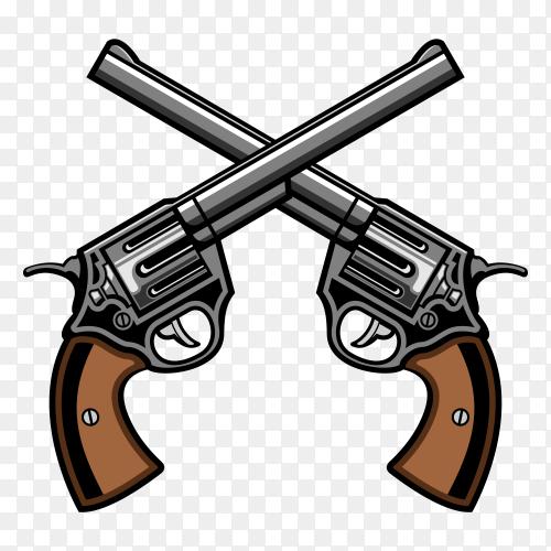 Two gun revolver cross logo vector PNG