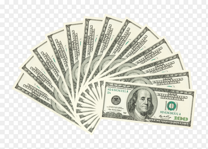 USA dollars banknotes on transparent background PNG