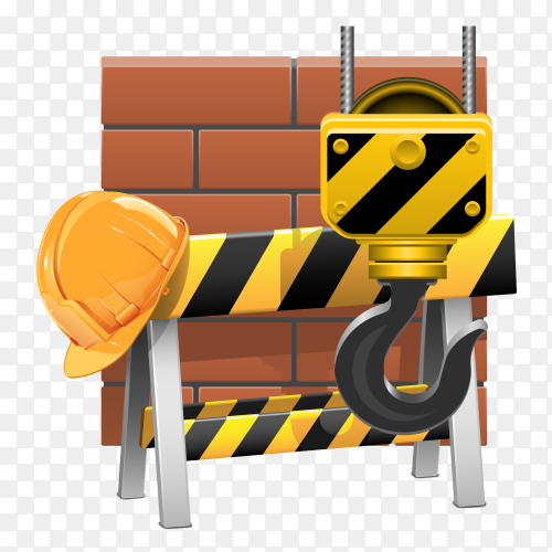 Under construction concept in flat design style on transparent PNG