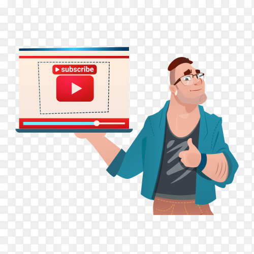 Video blogger online stream with subscribe concept on transparent PNG