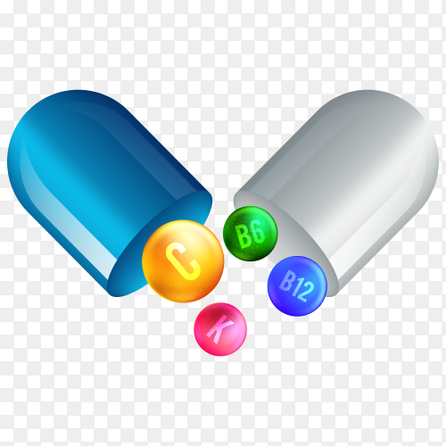 Vitamin capsule on transparent background PNG