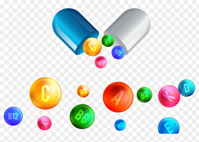Vitamin complex pharmaceutical capsule vector PNG