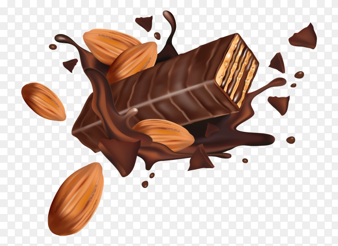 Wafer with chocolate and nuts on transparent PNG