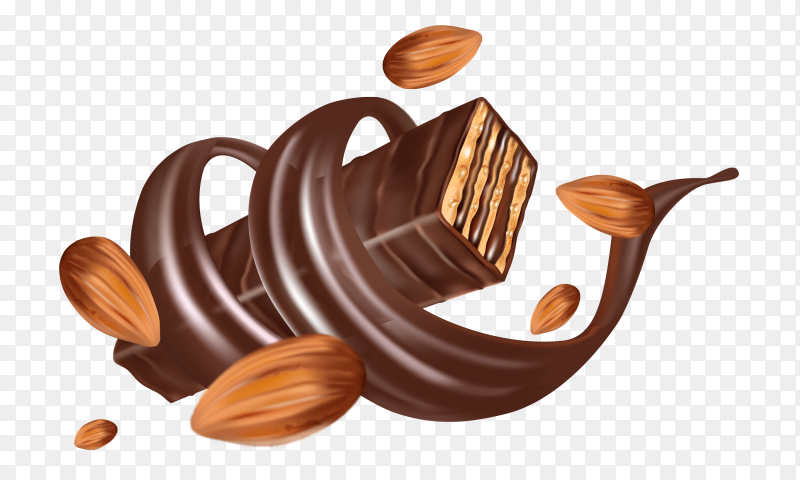 Wafer with chocolate and nuts on transparent background PNG