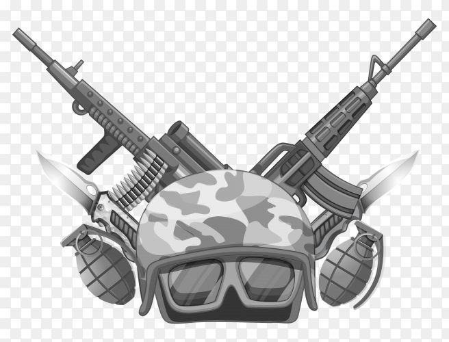 War theme with helmet and weapons vector PNG