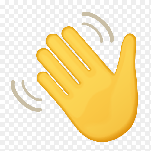 Waving hand gestures emoji on transparent background PNG