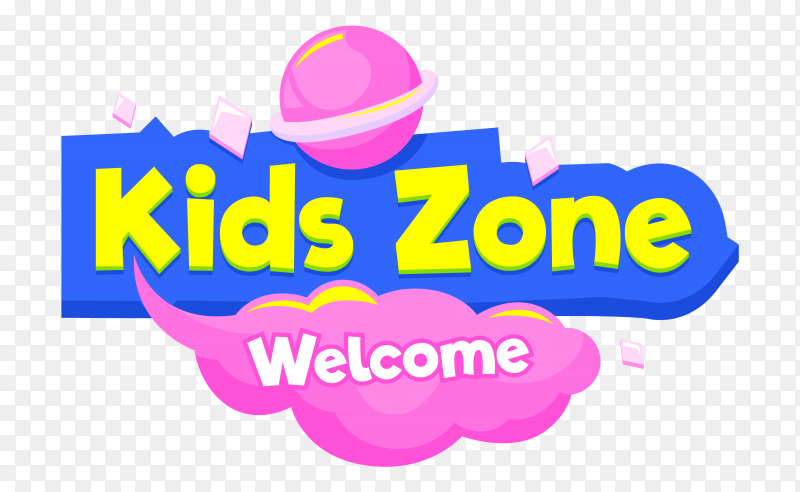 Welcome Kids zone design on transparent bakground PNG