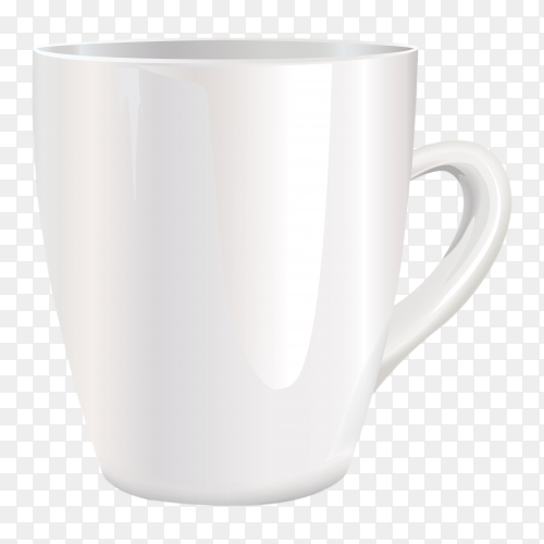 White Mug on transparent background PNG