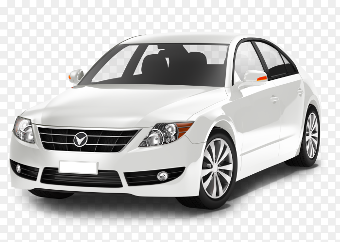 White car isolated on transparent  background PNG