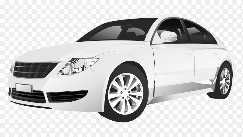 White car sedan on transparent background PNG