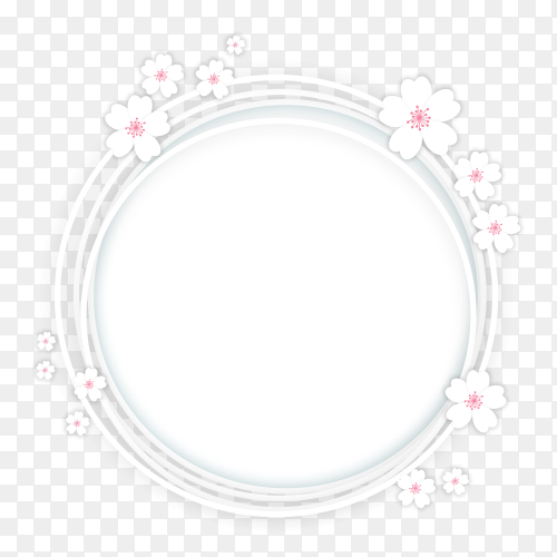 White circle with flowers on transparent PNG