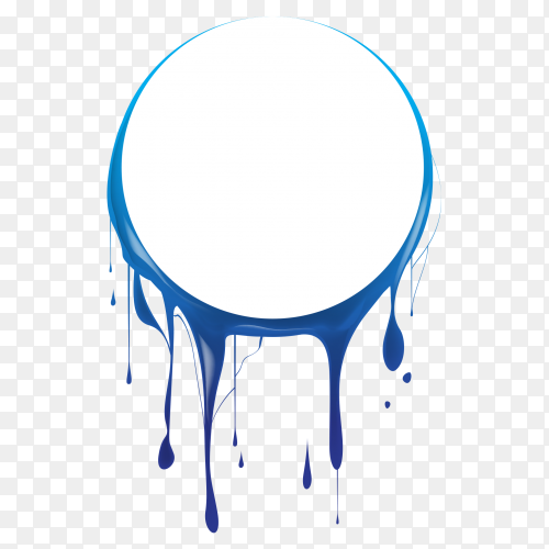 White circle with overflow blue watercolor clipart PNG
