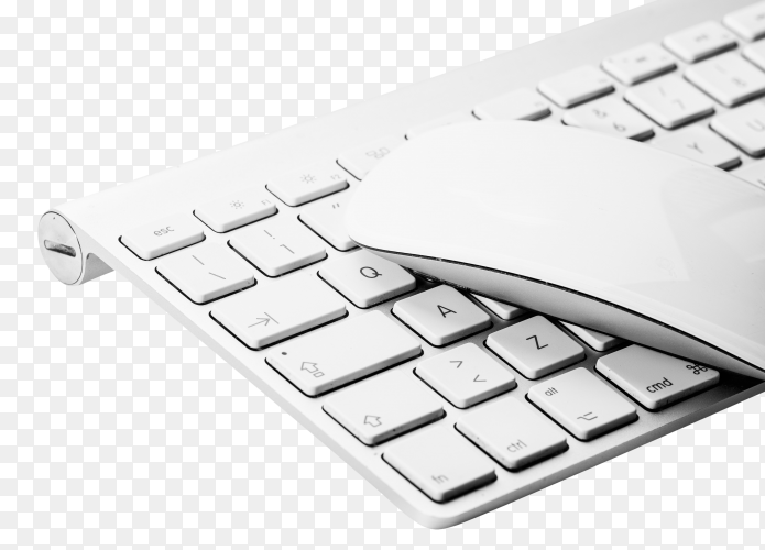 White mouse and keyboard on transparent background PG