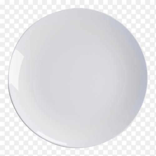 White plate on transparent background PNG
