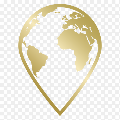 Withe World map formed location icon vector PNG
