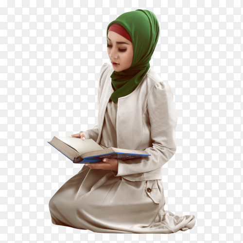 Woman reading koran on transparent background  PNG