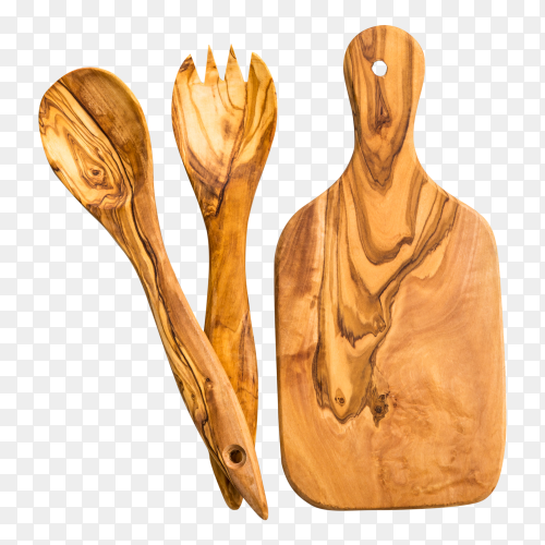 Wooden equipment on kitchen on transparent PNG