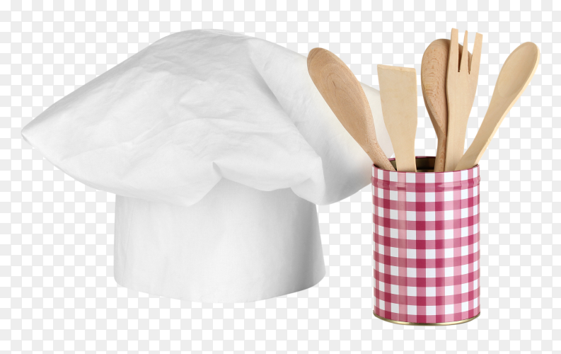 Wooden spoons and cook hat on transparent  PNG